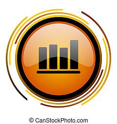 bar chart round design orange glossy web icon