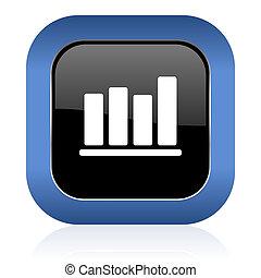 bar chart square glossy icon