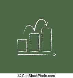 Bar chart upward icon drawn in chalk.