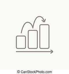Bar chart going upward line icon for web, mobile and infographics. Vector dark grey icon isolated on light grey background.