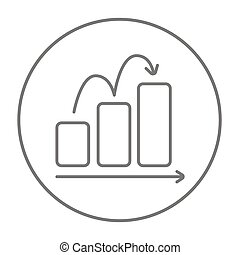 Bar chart going upward line icon for web, mobile and infographics. Vector grey thin line icon in the circle isolated on white background.