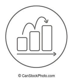 Bar chart upward line icon. - Bar chart going upward line ...