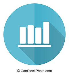 Bar chart vector icon, flat design blue round web button isolated on white background.