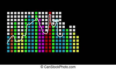 Bar chart with arrow - Multi-colored bar graph with an arrow...