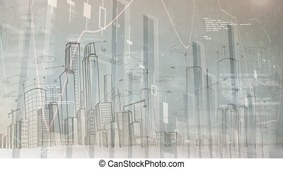 Bar chart with city landscape drawn