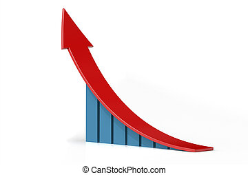 Bar chart with growing up arrow , 3d rendering