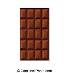 bar, chocolade, achtergrond., vector, witte , melk