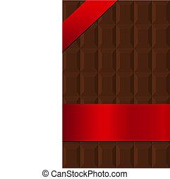 bar, chocolade, verpakte, zijde, spandoek, rood