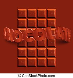 bar, 'chocolate', text, čokoláda, realistický, vektor, 3