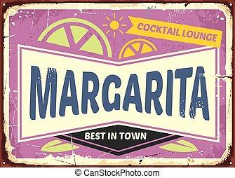 bar, cocktail, znak, projektować, retro, margaritas