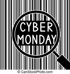 Bar code and Cyber Monday through the magnifying glass.
