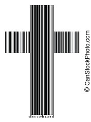 bar code in a cross