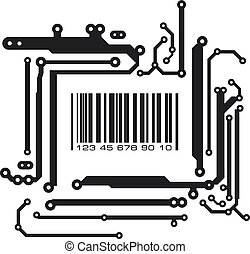 Bar code in PCB-layout style. Vector illustration.