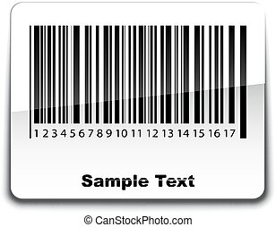 Bar code label with shadow. Vector illustration.