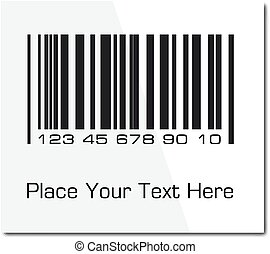 Bar code label with shadow. Vector ilustration.