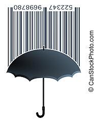 bar code label with umbrella