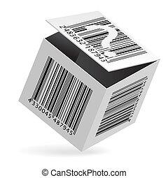 Bar code on box - Illustration of bar code on open white box