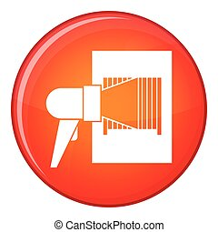 Bar code on cargo icon, flat style