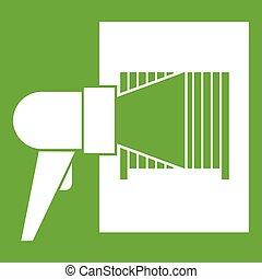 Bar code on cargo icon green