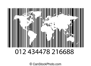 Bar-code on white with world map