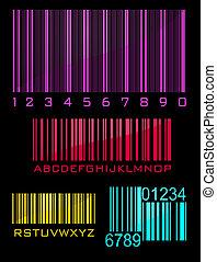 Bar code set in black background, vector illustration