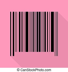 Bar code sign. Black icon with flat style shadow path on pink background.