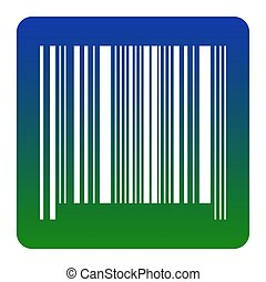 Bar code sign. Vector. White icon at green-blue gradient square with rounded corners on white background. Isolated.