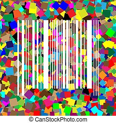 Bar code sign. Vector. White icon on colorful background with se