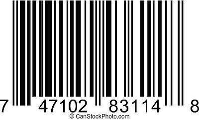 Bar code square label on white background
