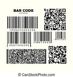 Bar code vector set. QR scan code templates. Barcode...