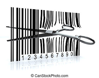 Bar code with 3d scissors that cut