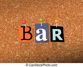 Bar Concept Pinned Letters Illustration