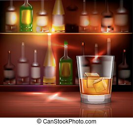 Bar counter realistic background with glass of whiskey in front vector illustration