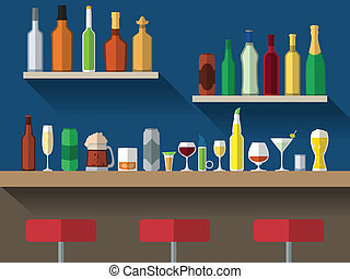 Bar counter flat - Bar counter with stools and alcohol drink...