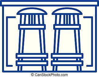 Bar counter line icon concept. Bar counter flat vector symbol, sign, outline illustration.