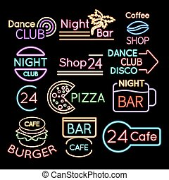 Bar, dance club cafe neon signs isolated on black background