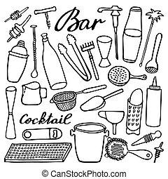 Bar equipment set. Hand-drawn cartoon collection. Doodle drawing.