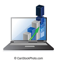 bar, firma, graph, laptop, tilvækst, eller, fortjenester