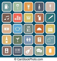 Bar flat icons on blue background
