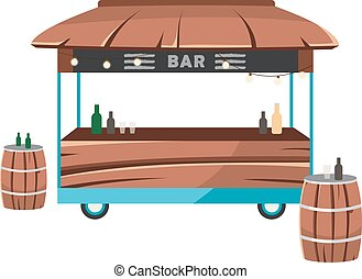 Bar food truck flat vector illustration. Cocktail lounge food court. Saloon service on wheels. Drinkery car. Alcohol selling trailer, barrels tables isolated on white background
