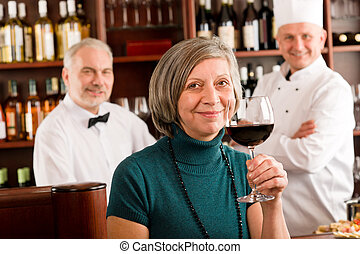 bar, gasthaus, geschmack, glas, manager, rotwein