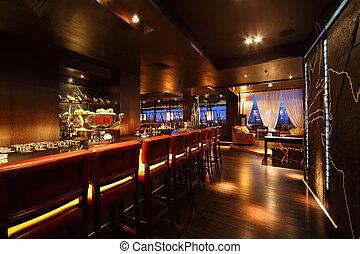 bar, gasthaus, stühle, bankschalter, bequem, nacht, leerer