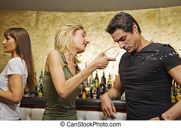girls night out: horny guy looking at a nice girl passing by...while being with his girlfriend!