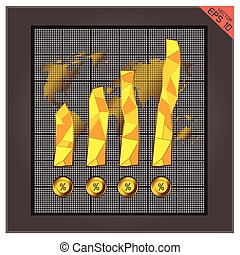 Bar Gold graph icon illustration. Success chart design