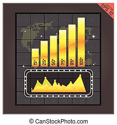 Bar Gold graph icon illustration. Success chart design