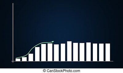 Bar graph and linear ascending graphs in blue