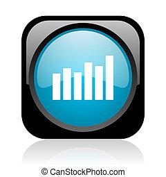 bar graph black and blue square web glossy icon