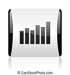 bar graph black and white square web glossy icon