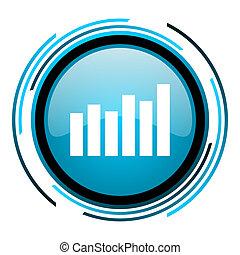bar graph blue circle glossy icon