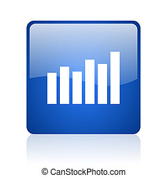 bar graph blue square glossy web icon on white background